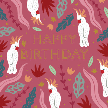 HDS109 - Happy Birthday (Cockatoo) Foil Greeting Card