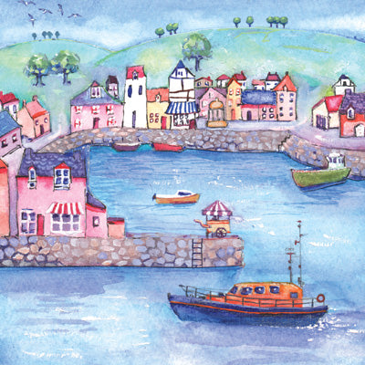 HM102 - Colourful Harbour Greeting Card