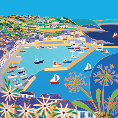 JDG136 - View across the Harbour at Mevagissey Art Card