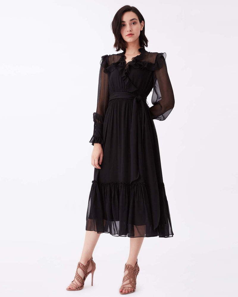Meredith Silk-Chiffon Midi Dress in Black