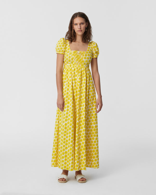 Poppy Cotton-Jacquard Maxi Dress in Daisy Dots Sunshine Yellow