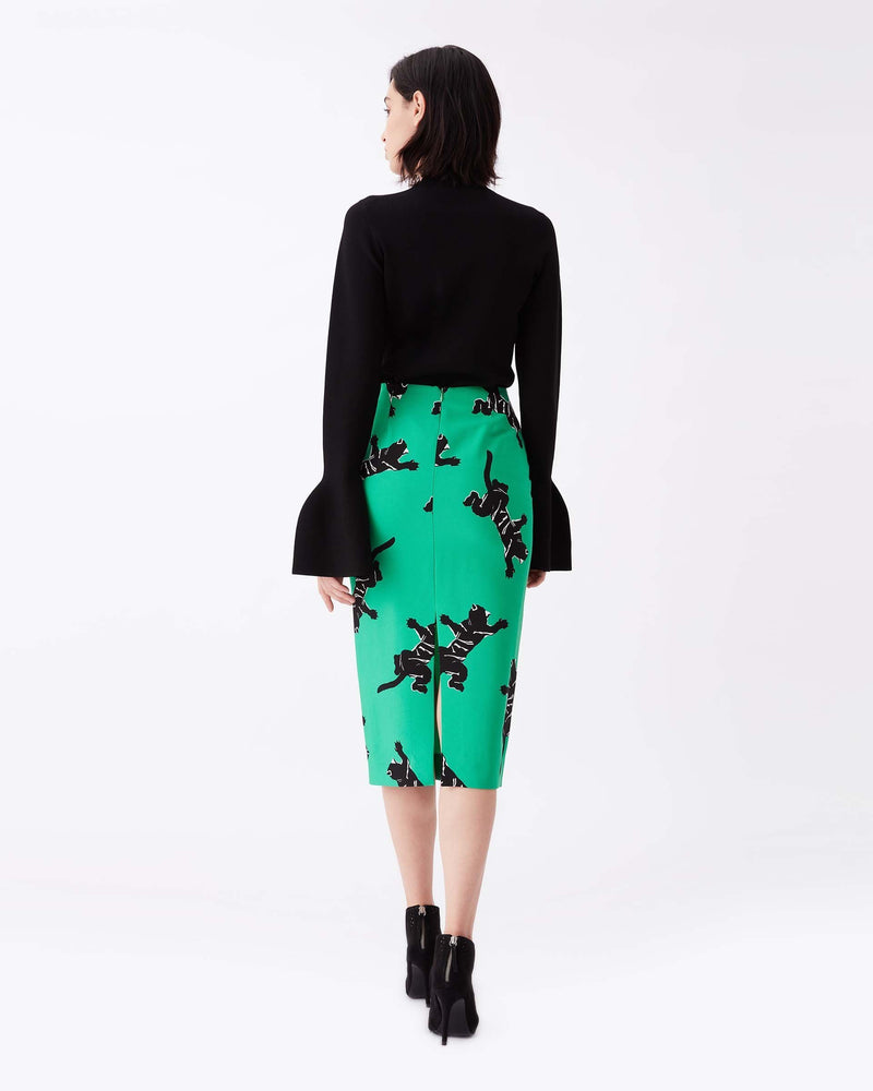 Kara Silk-Cady Pencil Skirt in Climbing Panther Green