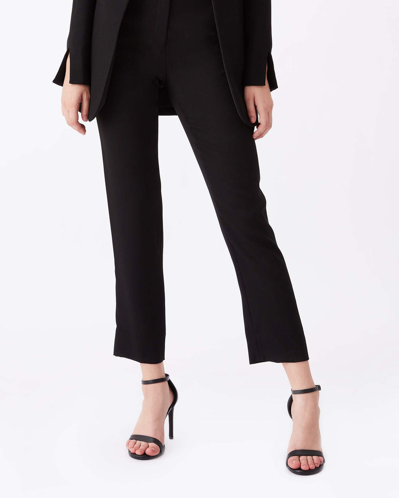 Fia Satin Back Crepe Cropped Pants in Black