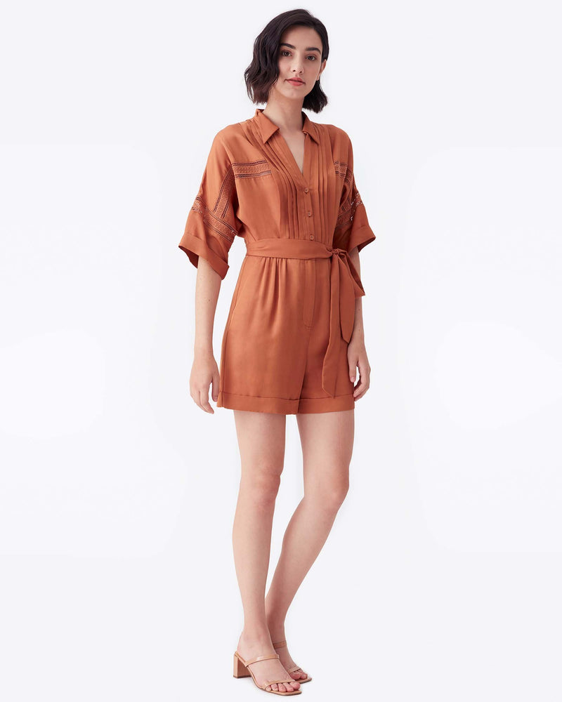 Bara Viscose-Blend Romper in Saddle Brown