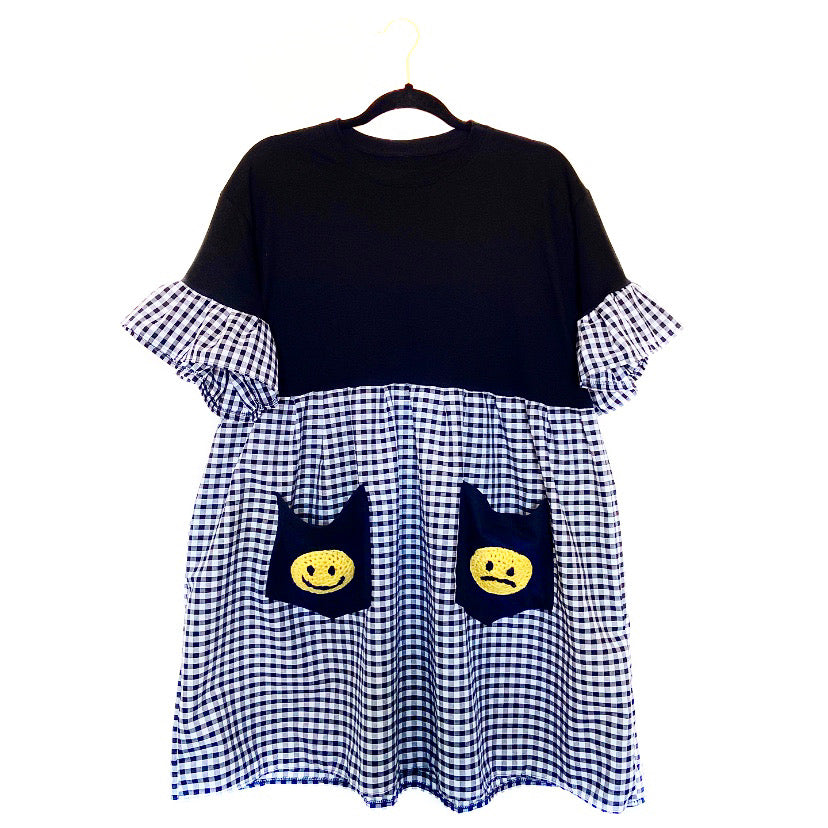 Gingham Happy Sad Face Smock Dress