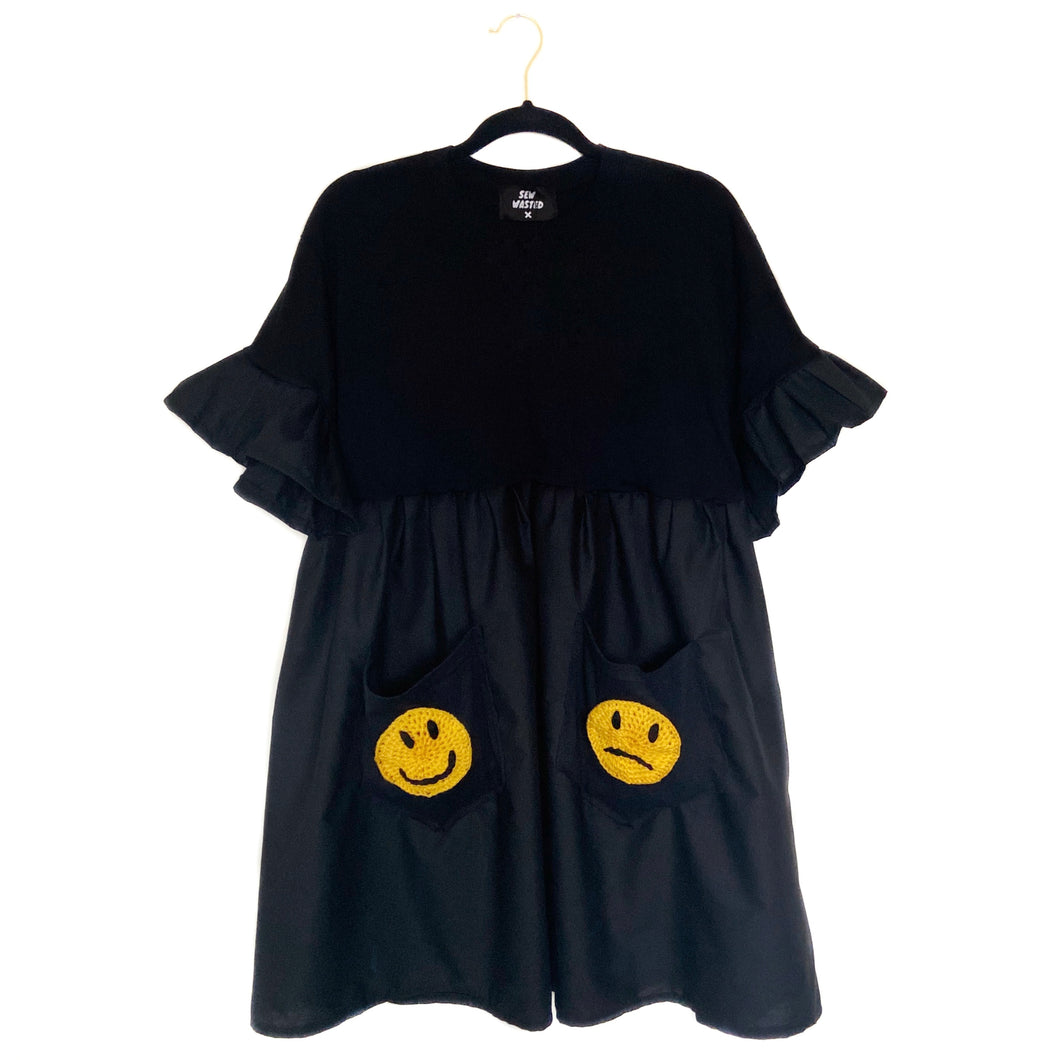 Black Happy Sad Face Smock Dress