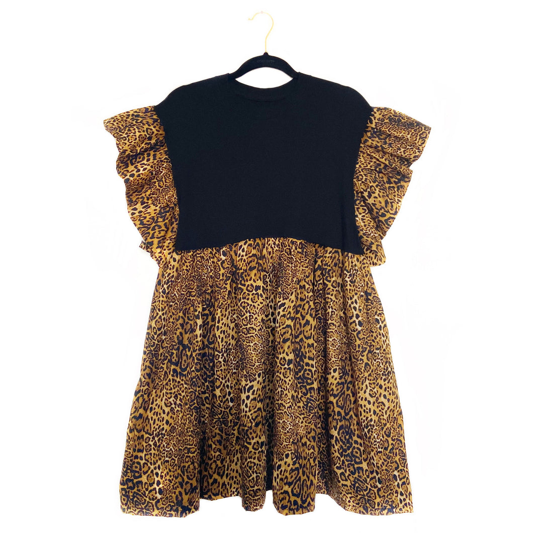 Leopard Ruffle Smock Dress