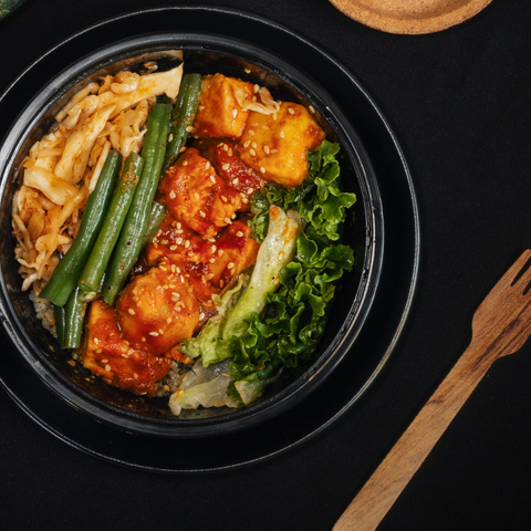 Harissa Tofu with Rice Noodles & Charred Vegetables