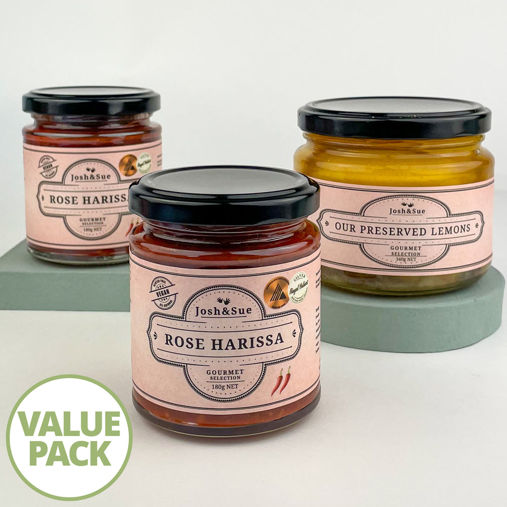 Josh&Sue Chef's Pack, 2 Rose Harissa Paste 1 Preserved Lemon