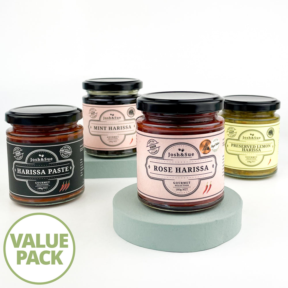 Josh&Sue Harissa 4 Pack, Rose Harissa, Harissa Paste, Preserved Lemon Harissa, Mint Harissa