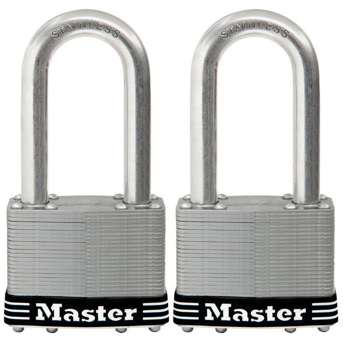 Master Lock 15SST 2-1/2in (64mm) Wide Laminated Stainless Steel Padlock with 2-1/2in (64mm) Shackle, 2 Pack-Keyed-HodgeProducts.com