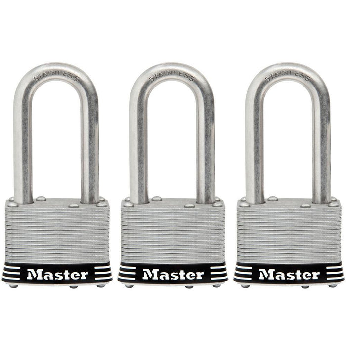 Master Lock 1SSTRI 1-3/4in (44mm) Wide Laminated Stainless Steel Padlock with 2in (51mm) Shackle; 3 Pack-Keyed-HodgeProducts.com