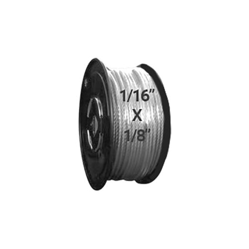 "Hodge Products 23002S - 1/16"" ID x 1/8"" OD Vinyl Coated Stainless Steel Aircraft Cable 7 x 7-HodgeProducts.com"