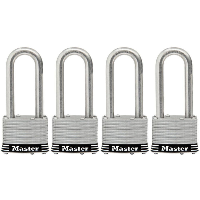 Master Lock 5SSQ 2in (51mm) Wide Laminated Stainless Steel Padlock with 2-1/2in (64mm) Shackle; 4 Pack-Keyed-HodgeProducts.com
