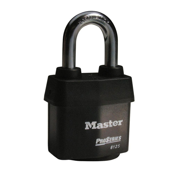 Master Lock 6125 ProSeries® Weather Tough® Laminated Steel Rekeyable Padlock 2-3/8in (60mm) Wide-Keyed-HodgeProducts.com