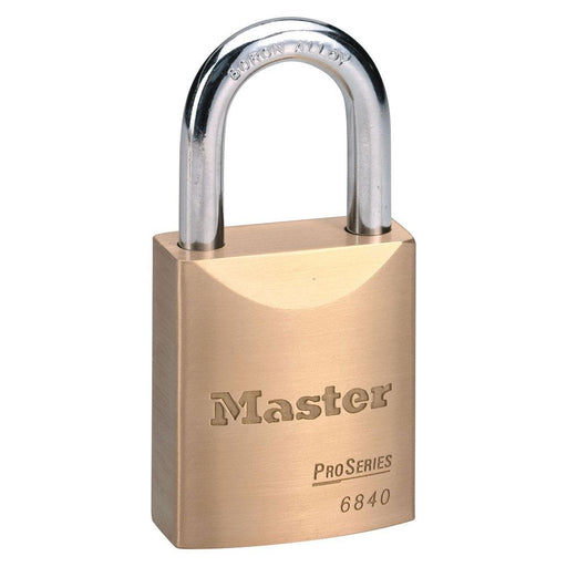 Master Lock 6840 ProSeries® Solid Brass Rekeyable Padlock 1-3/4in (44mm) Wide-Keyed-HodgeProducts.com