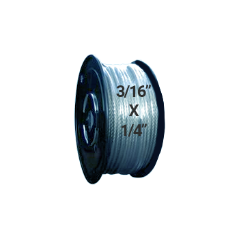 "Hodge Products 24008 - 3/16"" ID x 1/4"" OD Vinyl Coated Aircraft Cable 7 x 19-HodgeProducts.com"