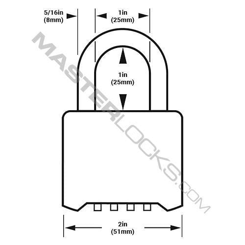 Master Lock 178 Resettable Combination Zinc Die-Cast Padlock, Black 2in (51mm) Wide-Combination-HodgeProducts.com