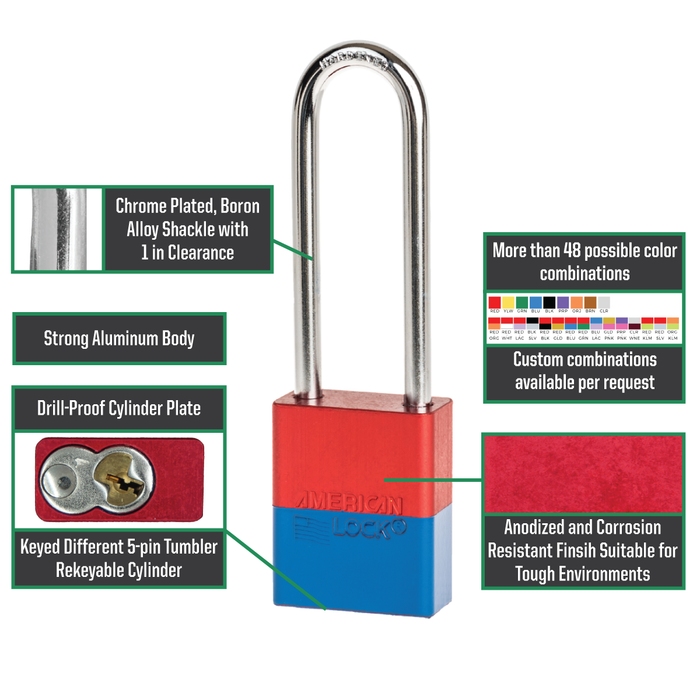 American Lock A1107 Anodized Aluminum Safety Padlock, 1-1/2in (38mm) Wide with 3in (76mm) Tall Shackle-Keyed-HodgeProducts.com