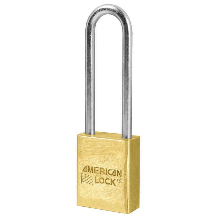 American Lock A42 1-1/2in (38mm) Solid Brass Padlock with 3in (76mm) Shackle-Keyed-HodgeProducts.com