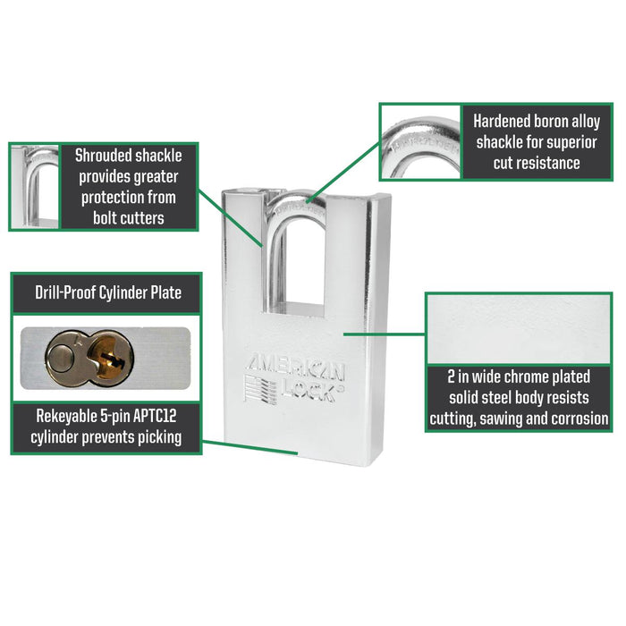 American Lock A5360 Shrouded Solid Steel Rekeyable Padlock 2in (51mm) Wide-Keyed-HodgeProducts.com