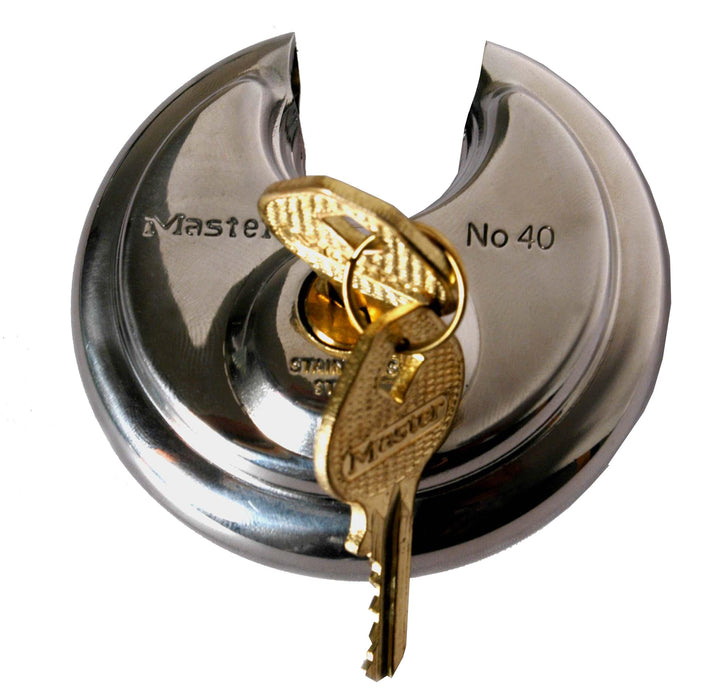 Master Lock 40DPF Stainless Steel Discus Padlock with Shrouded Shackle 2-3/4in (70mm) Wide-Keyed-HodgeProducts.com