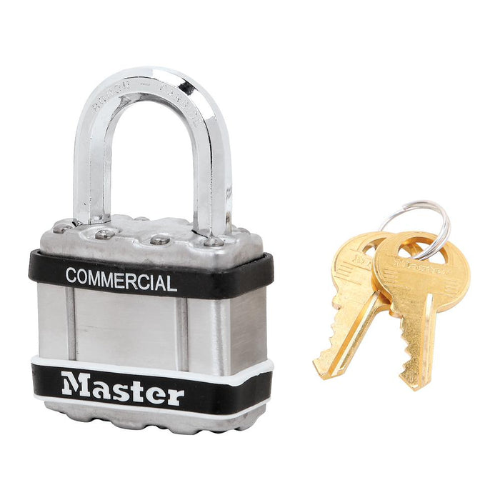 Master Lock M1 Commercial Magnum Laminated Steel Padlock with Stainless Steel Body Cover 1-3/4in (44mm) Wide-Keyed-HodgeProducts.com