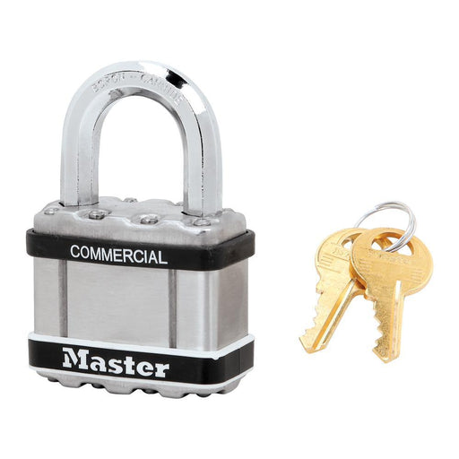 Master Lock M5 Commercial Magnum Laminated Steel Padlock with Stainless Steel Body Cover 2in (51mm) Wide-Keyed-HodgeProducts.com