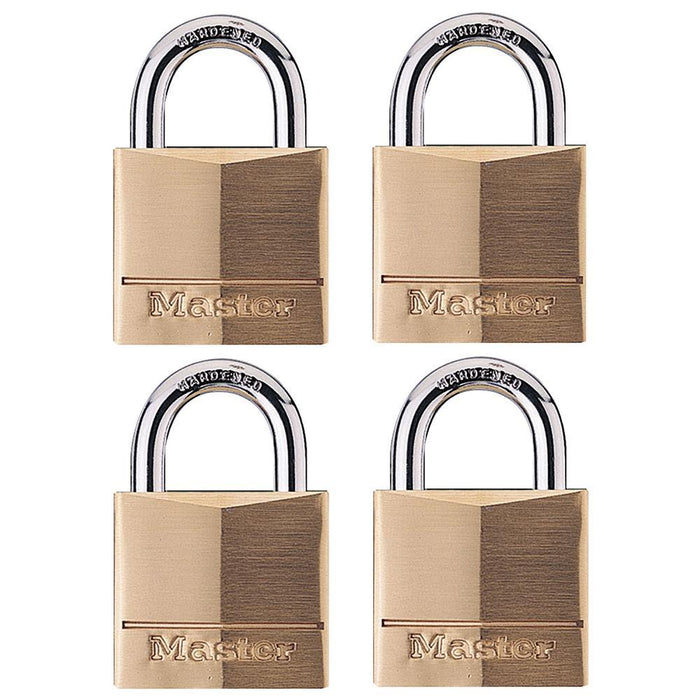 Master Lock 140Q Solid Brass Body Padlock; 4 Pack 1-9/16in (40mm) Wide-Keyed-HodgeProducts.com