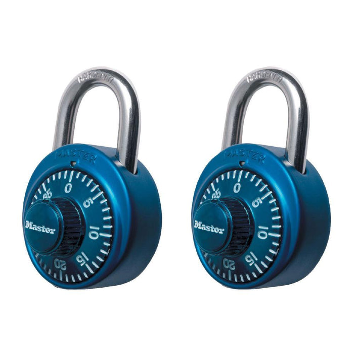 Master Lock 1530T Standard Combination Dial Padlock with Aluminum Cover; Assorted Colors; 2 Pack 1-7/8in (48mm) Wide-Combination-HodgeProducts.com