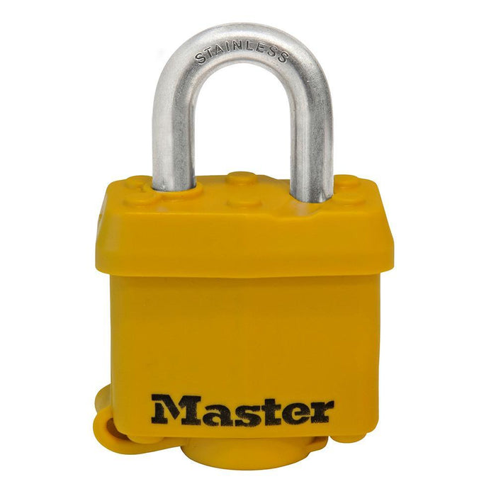 Master Lock 315SSKAD Covered Stainless Steel Padlock; Yellow 1-9/16in (40mm) Wide-Keyed-HodgeProducts.com