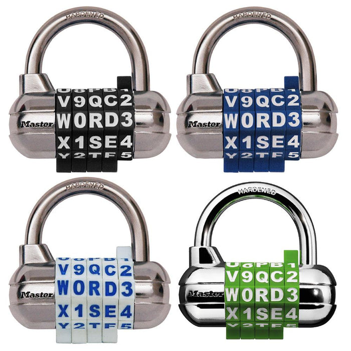 Master Lock 1534D Set Your Own WORD Combination Padlock with Interchangeable, Removable Dials; Assorted Colors 2-1/2in (64mm) Wide-Combination-HodgeProducts.com