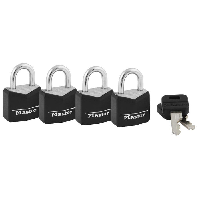 Master Lock 121Q Covered Solid Body Padlock; 4 Pack 3/4in (19mm) Wide-Keyed-HodgeProducts.com