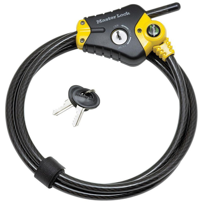Master Lock 8413DPF 6ft (1.8m) Long x Diameter Python™ Adjustable Locking Cable; and Black 3/8in (10mm) Wide-Keyed-HodgeProducts.com