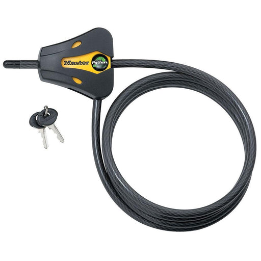Master Lock 8419 6ft (1.8m) Long x Diameter Python™ Adjustable Locking Cable; and Black 5/16in (8mm) Wide-Keyed-HodgeProducts.com