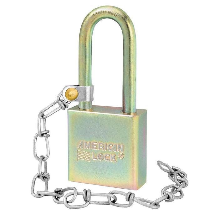 Master Lock A5201GLWN Government Padlock, with Chain and 2in (50mm) Tall Shackle-Keyed-HodgeProducts.com