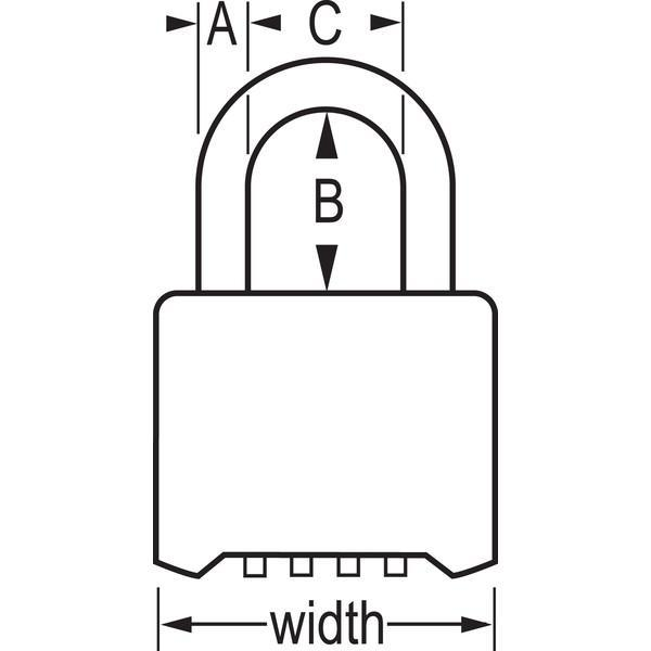 Master Lock 975 Resettable Combination Brass Padlock 2in (51mm) Wide-Combination-HodgeProducts.com