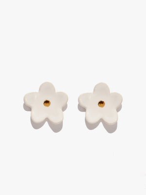 Flower Earrings - White