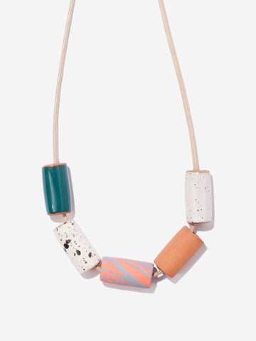 Ceramic Bead Necklace - Teal/Coral