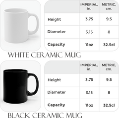 black and white ceramic mugs with size chart