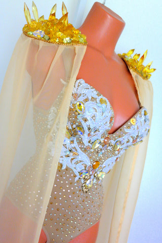 Yellow Crystal Shoulder Pads