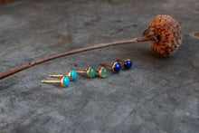 Load image into Gallery viewer, 4mm Bluebird Turquoise Studs in 14k Gold Fill MADE TO ORDER