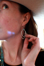 Load image into Gallery viewer, Long Double Leaf Earrings with teeny Turquoise in Sterling Silver, MADE TO ORDER