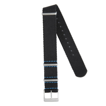 Recycled NATO Strap Black Blue Stitches