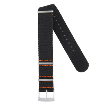 Recycled NATO Strap Black Orange Stitches