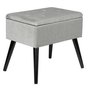 Velvet Ottoman Upholstered Footstool With Storage