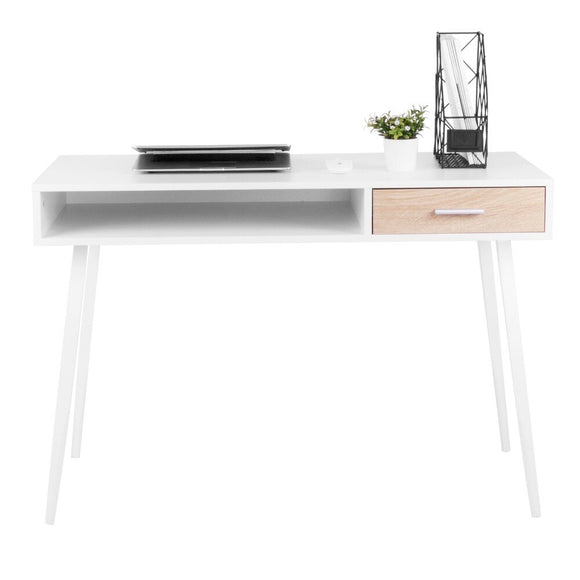 White Office Computer Desk Workstation With Open Compartment