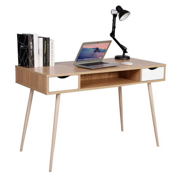 Wooden Desk with 2 Drawers and Open Compartment