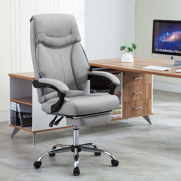 Ergonomic Executive Linen Chair  With Footstool