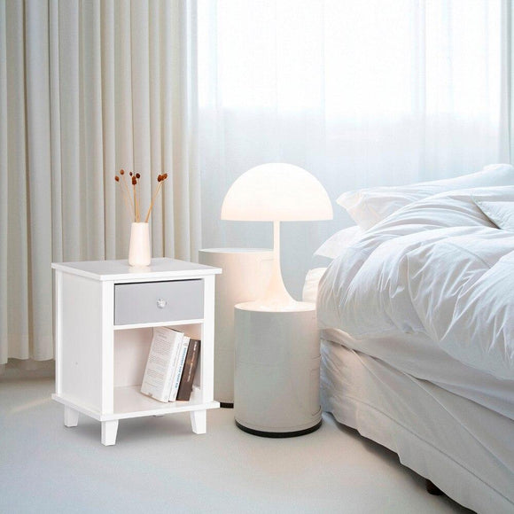 White Bed side Table with Drawer and Open Storage